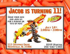 Nerf Gun Wars Birthday Invitations Get these invitations RIGHT NOW