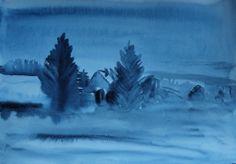 Winter twilight. Watercolor. Keiu Kuresaar