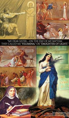 Philomena - on the lower right is the painting commissioned by St. John Marie Vianney of our dear saint as she appeared to him. Catholic Prayers, Catholic Prayer For Healing, Catholic Doctrine, Novena Prayers, Rosary Catholic, Catholic Saints, Mary Jesus Mother, Blessed Mother, Religious Images