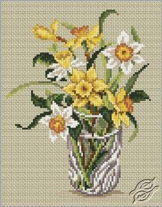 Daffodils in Crystal Glass - Cross Stitch Kits by RTO - C180