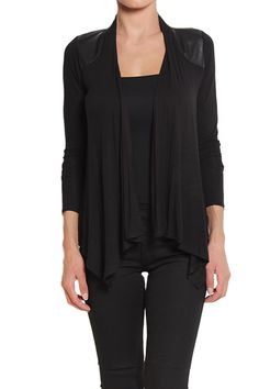 TheMogan Draped Jersey Cardigan With Leather Shoulder Patch