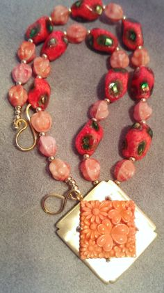 Vintage Japanese Beaded Necklace - Tangerine Floral by SpurwinkRiverArts on Etsy