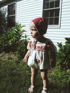 Bonnie in our coordinating 'Joni' bonnet and 'Jane' romper. Perfect holiday attire... @apolinakids www.instagram.com/apolina_kids/  #bohobaby #bonnet #embroideredromper