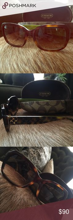 Clash sunglasses worn maybe 5 times!!! Tourtouse shell brown sunnies with lime green detail on the inner arm. Gold accents. Literally like new!!! Coach Accessories Sunglasses
