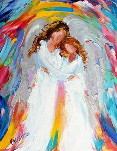 Angels painting original oil abstract impressionism fine art