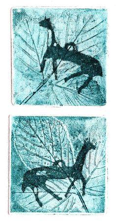 """Nezakcij-horses"",small intaglio:soft ground etching and aquatint, K.Tomičić"