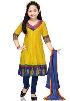Yellow Cotton Readymade Anarkali Churidar Kameez: UVT3