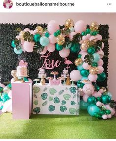 Beautiful Pink & Mint Rose Gold Confetti Balloon Garland Kit-Party Decorations - New Deko Sites Flamingo Party, Flamingo Baby Shower, Flamingo Birthday, 13th Birthday Parties, Luau Birthday, Birthday Ideas, Birthday Themes For Kids, Moana Birthday, Birthday Board