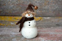 Needle Felting kit Needle Felted Snowman di BearCreekDesign