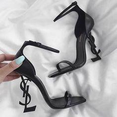 Ysl Heels, Shoes Heels Pumps, Black Heels, Ysl Sandals, Flat Sandals, Gladiator Sandals, Leather Sandals, Stiletto Heels, Fancy Shoes