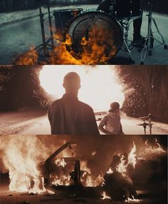 stills from twenty one pilots' heavydirtysoul music video