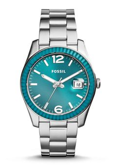 Fossil Jacqueline Green Leather Watch (Everything Turquoise) Fossil Bracelet, Fossil Jewelry, Bracelet Watch, Jewelry Watches, Boyfriend Watch, Perfect Boyfriend, Stainless Steel Jewelry, Stainless Steel Watch, Fossil Jacqueline