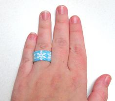 Beaded Ring Snowflake Ring Wide Beaded by SimplyBeadifulDesign