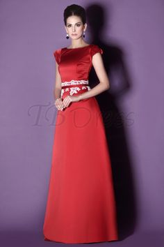 Applique A-Line Short Sleeves Floor-Length Taline's Bridesmaid Dress