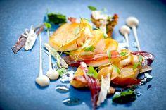 Photo of: Pan-Fried Scallops with Baby Artichokes, Gremolata, Iberico Ham, Lemon Verbena Jus Gras, Pied à Terre, Central London restaurant