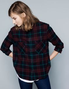 :CHECK PRINT SHIRT WITH BACK PLEAT
