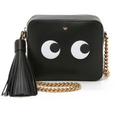 Anya Hindmarch Cross Body Bag with Eyes ($1,275) ❤ liked on Polyvore featuring bags, handbags, shoulder bags, black, black leather crossbody, crossbody handbags, black crossbody purse, black purse and leather shoulder bag