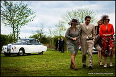 Susie and Graham's stylish arrival at the wedding reception in a Daimler -