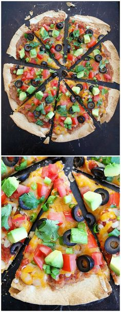 Crispy Mexican Tortilla Pizza Recipe on http://twopeasandtheirpod.com This easy pizza only takes 15 minutes to make! It is a dinner favorite at our house!