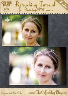 CoffeeShop Portrait Retouching Photoshop/PSE Tutorial Part 2:  Cleaning Up Skin Imperfections/Shadows