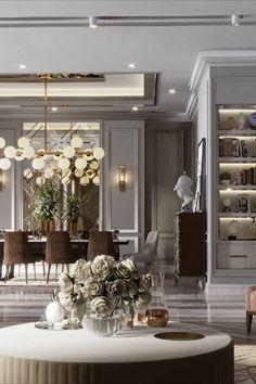 Modern Classic Interior, Luxury Interior, Home Interior Design, Source Of Inspiration, Design Inspiration, Interior Design Presentation, Modern Entryway, House Interiors, Dining Area