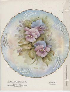 "8"" Pansy Plate by Geraldine Rarick China Painting Study 1973 | eBay"