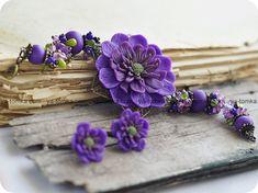 Beautiful purple polymer clay flower bracelet and earrings!