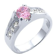 Round Pink Tourmaline 1.84 Carat Weight October Birthstone Ring with Non-tarnishing Rhodium Finish