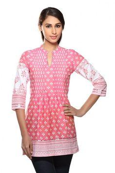 Stylish Look Pink Color Cotton #Designer #PrintedKurti