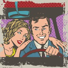 Vecteur : Man and woman in the car pop art comics retro style Halftone