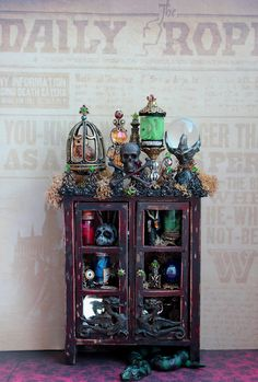 19th Day Miniatures Works in Progress: Dollhouse Miniature Harry Potter Death Eater Cabinet is Complete!