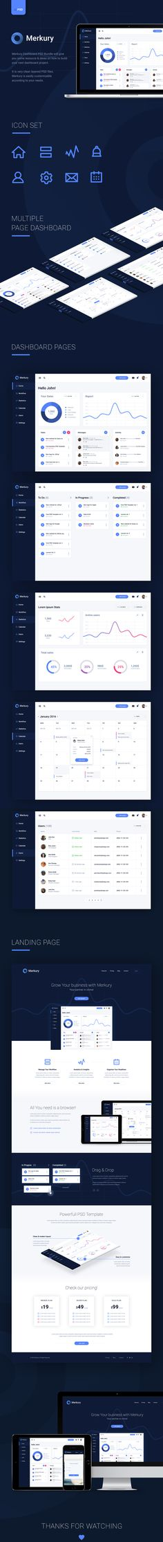 Merkury Dashboard PSD Bundle will give you some resource & ideas on how to build your next dashboard project. It is very clean layered PSD files. Merkury is easily customizable according to your needs.
