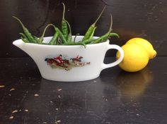 Vintage 1950's Pyrex Ringtons Tally Ho Sauce Or Gravy Boat Lovely Condition by Onmykitchentable Vintage on Gourmly