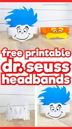 Looking for fun ways to celebrate Read Across America Day? Then you'll love these free printable Dr Seuss hats that featuring The Lorax, Thing 1 & Thing and Horton from Horton Hears A Who. Kids will love wearing these headbands! Dr. Seuss, Dr Seuss Hat, Dr Seuss Week, Dr Seuss Lorax, Dr Seuss Crafts, Preschool Crafts, Dr Seuss Activities Preschool, Sequencing Activities, Kindergarten Crafts