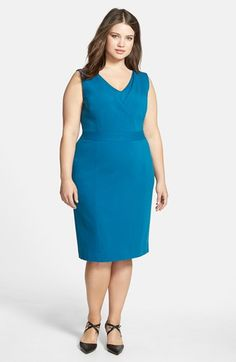 Classiques Entier® Layered V-Neck Sheath Dress (Plus Size) available at #Nordstrom