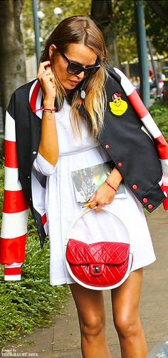 Carlotta Oddi in a Au Jour Le Jour jacket, Chanel bag at Milan Fashion Week Spring 2014
