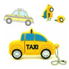 cartoon Mini taxi pen drive usb 2.0 flash drive disk toy yellow car computer gift memory Stick pendrive 4GB 8GB 16GB 32GB