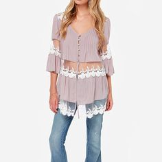 HDY Haoduoyi Fashion Pink Women Shirts Butterfly Sleeves V-neck Lace Contrast Sheer Blouses Women High Low Loose Casual Tops