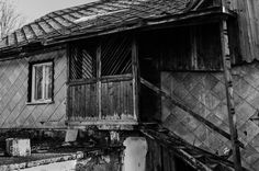 Black and white old abandoned house with wooden porch and asbestos elevation by Marcin eM on 500px