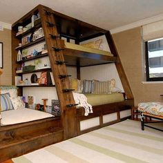 Awesome Space Saving Kids Bedroom Design Featuring Perfect Wooden Bunk Beds With Unique Black Metal Stairs And Bookshelves On The Left Side, Best Of Coolest Modern Kid Beds: Bedroom, Furniture, Interior, Kids Room Cool Bunk Beds, Kids Bunk Beds, Boys Bunk Bed Room Ideas, Unique Bunk Beds, Kids Beds Diy, Bunkbeds For Small Room, Bunk Bed Ideas For Small Rooms, Diy Bunkbeds, Cool Beds For Kids