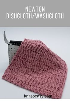The Newton dishcloth/washcloth has a unique textured design, but is so easy and relaxing to knit with a knit & purl stitch pattern. Knitted Washcloth Patterns, Knitted Washcloths, Dishcloth Knitting Patterns, Crochet Dishcloths, Crochet Patterns, Crochet Home, Crochet Cross, Knit Purl Stitches, How To Purl Knit
