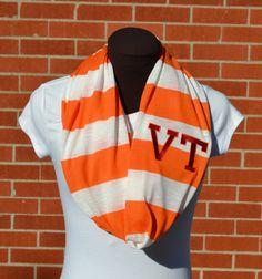 Monogrammed Infinity Scarf Orange and White Stripe by byrdlegs, $25.00