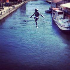 Found on Starpin. Man crossing the river #bydgoszcz