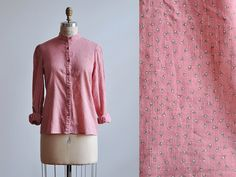 1960s Pink Blouse / Pink Floral Button Down by sugarbridgevintage, $29.00