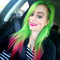 _samway_ is killing us with this SWEET color combo #Overtone #pinkhair #pinktips #green #neon