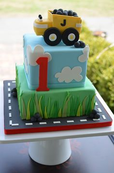 Children's Birthday Cakes: Dump truck 1st birthday cake.