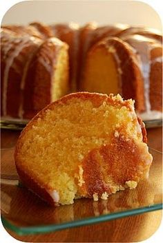 Lemon Cake ~ Made with boxed white cake mix, lemon pudding, and sprite. So good, and SO moist!