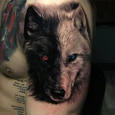 wolf tattoo design Chest is part of Best Wolf Tattoos For Men Cool Designs Ideas Guide - Tribal wolf tattoo on upper arm Lone Wolf Tattoo, Wolf Tattoo Sleeve, Lion Tattoo, Two Wolves Tattoo, White Wolf Tattoo, Sleeve Tattoos, Wolf Tattoo Back, Tattoo Animal, Bad Wolf Tattoo