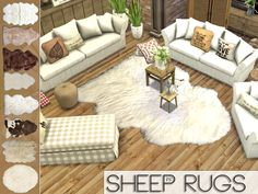 pralinesims: So, we converted our classic TS3 sheep rugs. Enjoy!  DOWNLOAD(Simfileshare)  (via paperjunkcc)