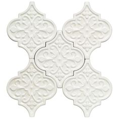 Byzantine Florid Arabesque Bianco Ceramic Tile.....option 1 This will every where except behind the kitchen hood.